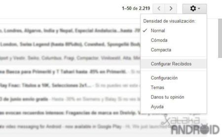 Configurar Recibidos en Gmail