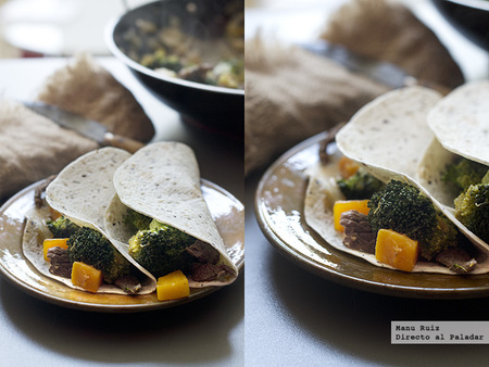 Fajitas de ternera, calabaza y brócoli. Receta