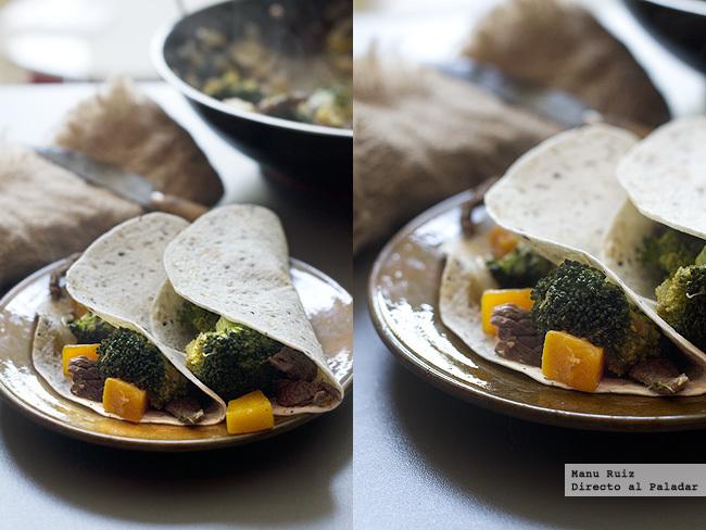 Fajitas de ternera, calabaza y brócoli