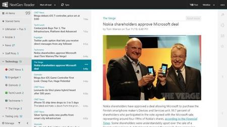 Nextgen Reader para Windows 8/RT se actualiza con soporte para Feedly Pro