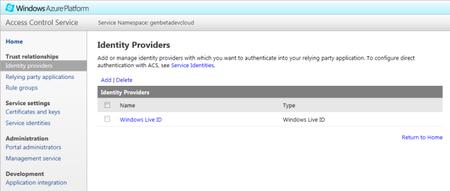 Windows Azure AppFabric ACS - Identity Providers