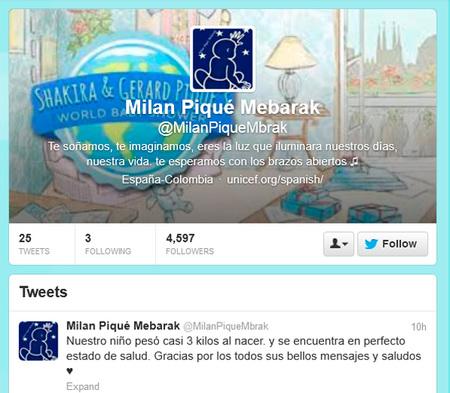 Milan Piqué Mebarak, una llegada al mundo de lo más tuitera