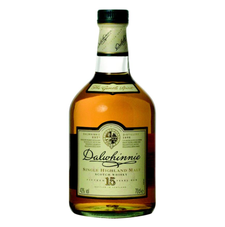Whisky de malta escocés 15 años Dalwhinnie. Suave, delicado y duradero sabor a brezo y turba.