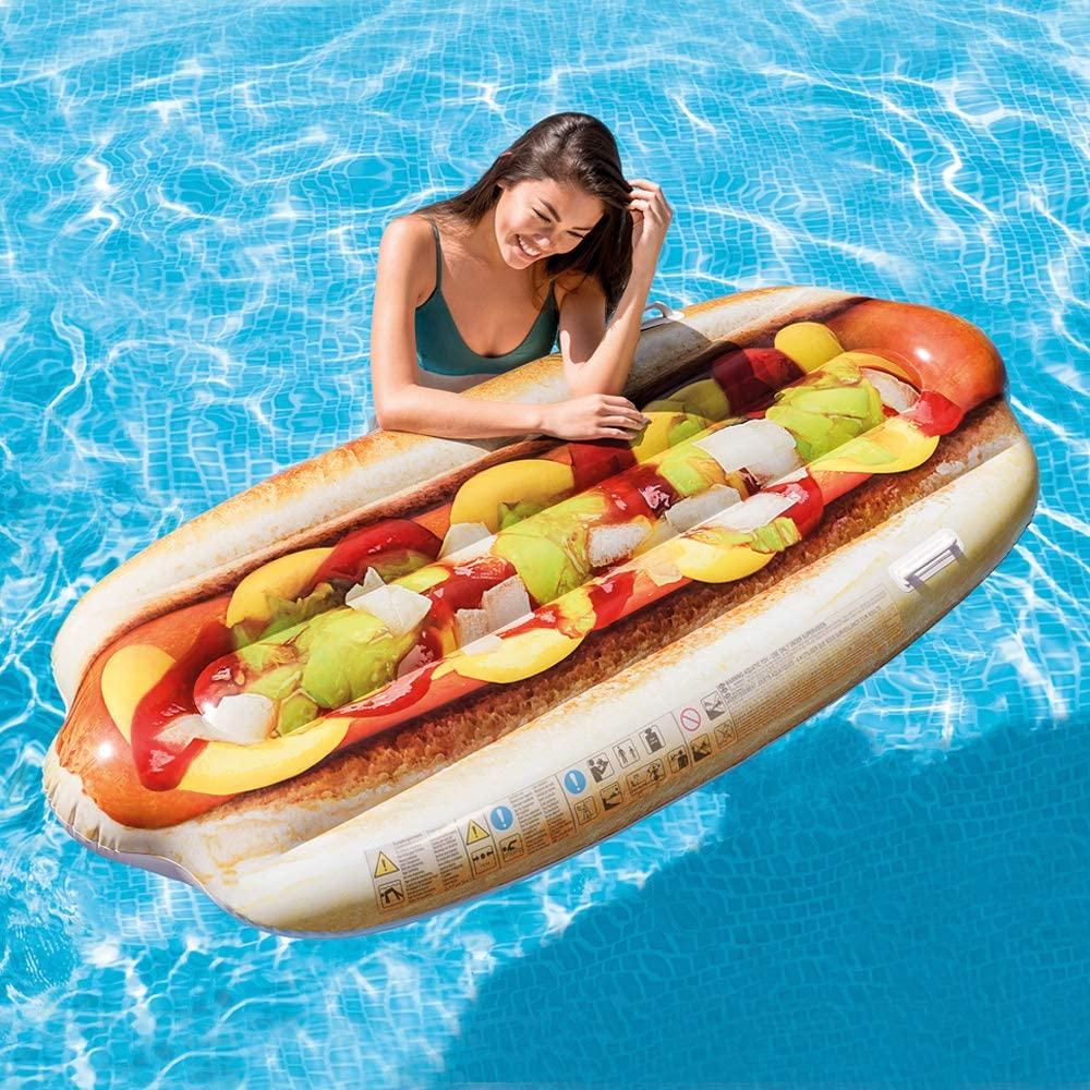 Intex 58771EU - Hinchable con forma de Hot Dog y asas, Multicolor
