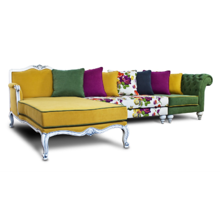 Palermo Yellow Corner Sofa This Striking Multi Coloured Delightful Sofa Brings Out The Passion For Fashion With Its Yellow Green