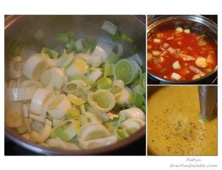 Crema de puerros y tomate. Pasos
