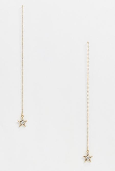 Pendientes dorados de pasador con charm de estrella de cristal de ASOS DESIGN