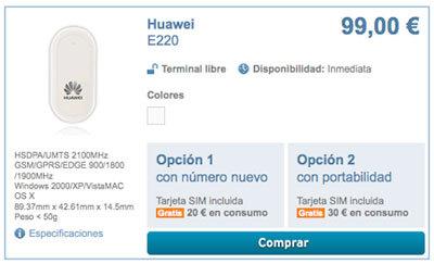 Simyo vende su módem USB por 99 euros, libre