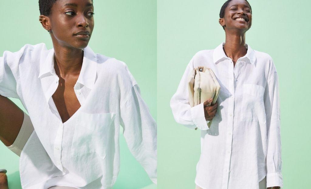 Camisa recta en lino vaporoso con cuello, botones delante y canesú de doble capa con pliegue en la espalda.