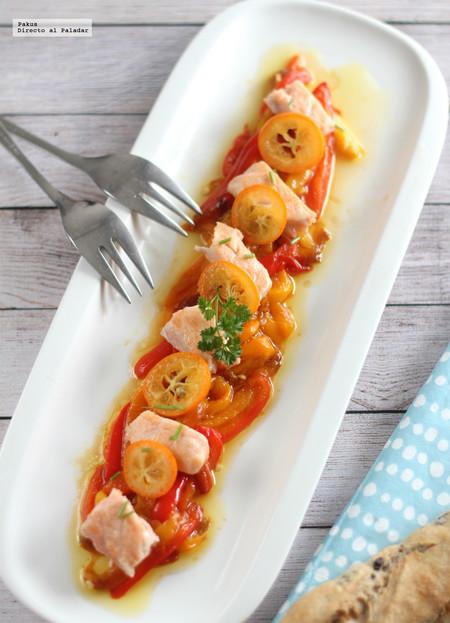 ensalasa de pimientos y salmon