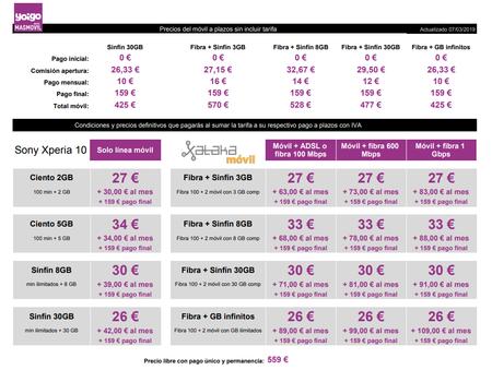Precios Sony Xperia 10 A Plazos Con Tarifas Yoigo