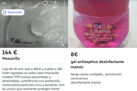 Mascarillas a 144€ y reventa de desinfectantes, el mercado negro del coronavirus en Wallapop