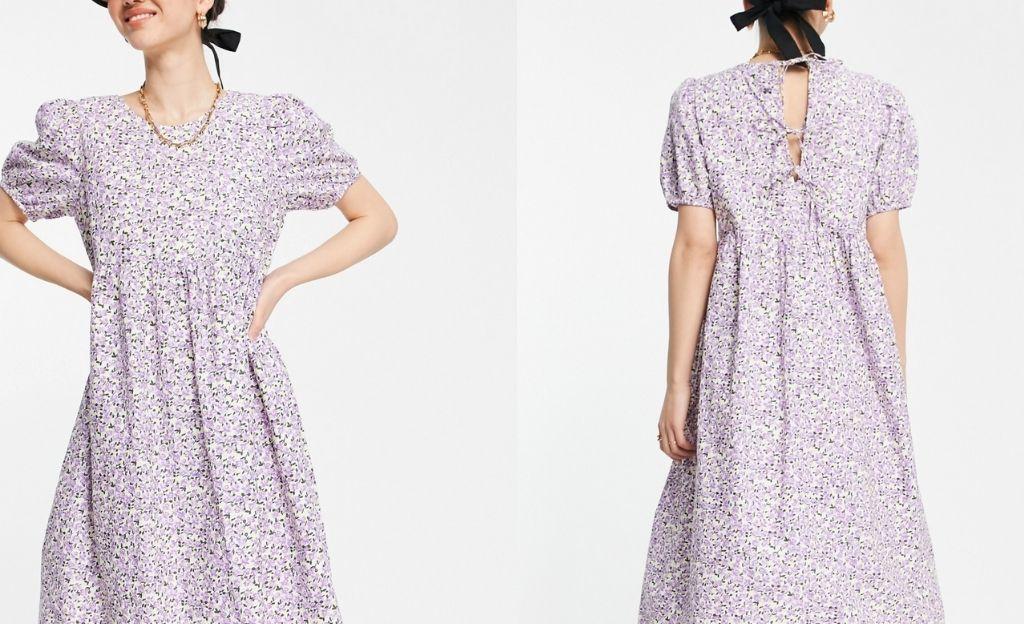 Vestido midi lila amplio con estampado floral y mangas abullonadas de Vero Moda