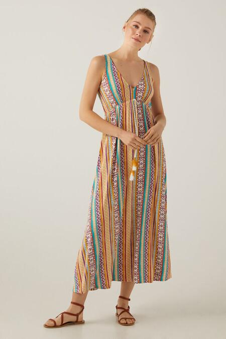 Vestido Largo Cenefas Multicolor