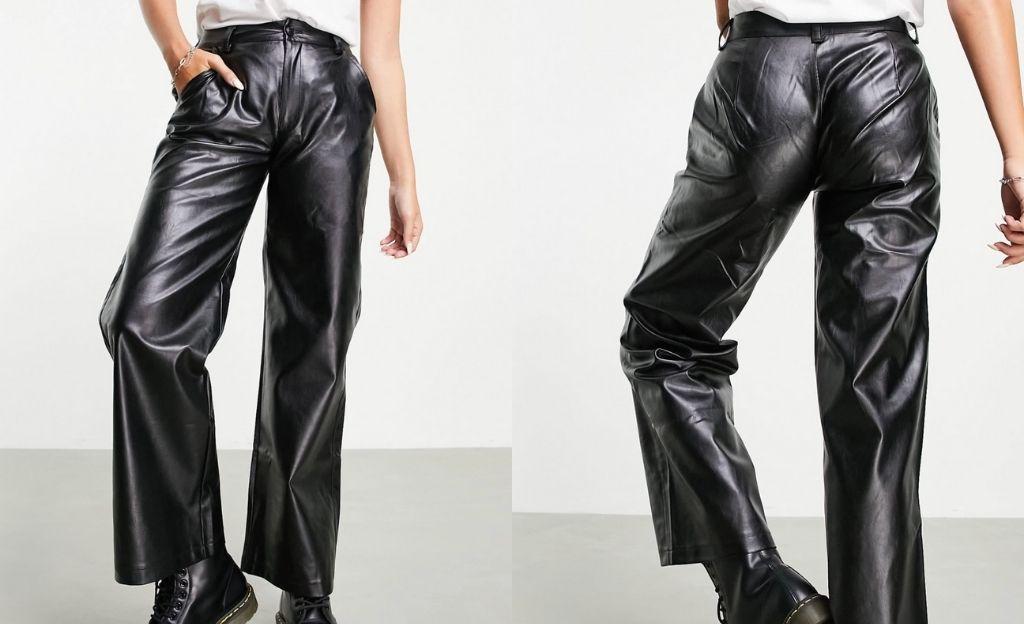 Pantalones dad negros de tejido efecto cuero de Reclaimed Vintage inspired