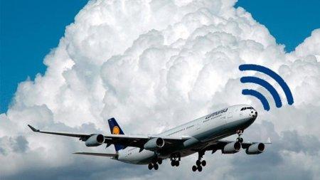 Avión de Lufthansa con el icono de Wi-Fi