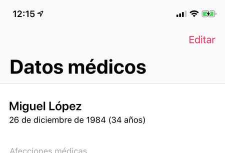 Editar Datos Medicos Iphone
