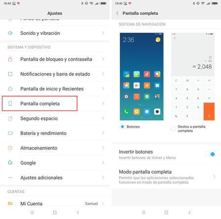Cómo activar la navegación por gestos en MIUI 9.5 o superior