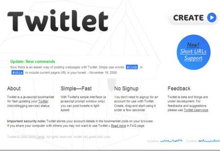 Twitlet, genera un bookmarklet para cambiar tu estado en Twitter