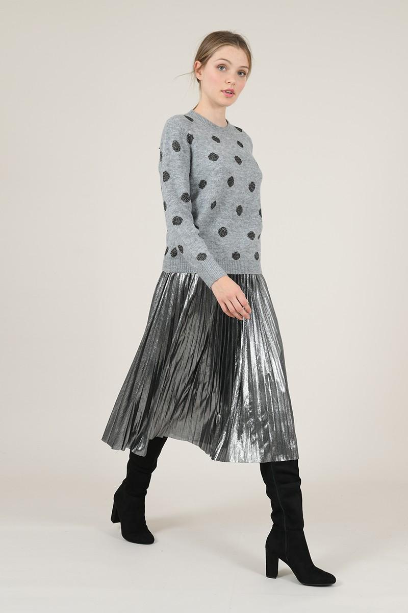 Falda midi plisada en tejido metalizado