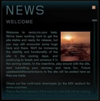 Web de remixes y fuentes de NIN