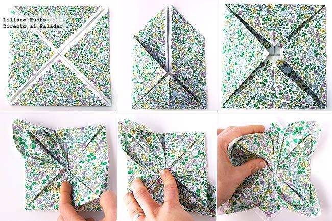 Cómo doblar servilletas con forma de flor. Pasos