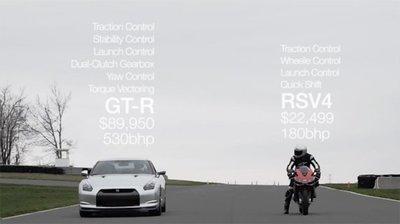 Aprilia RSV4 Factory vs. Nissan GT-R, ¿será este el día en que gane el coche?