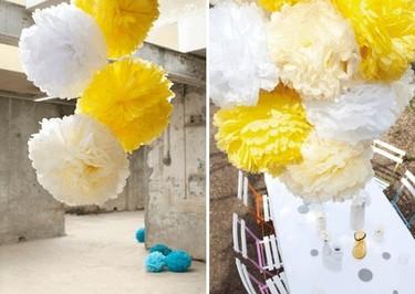Pompones gigantes para la decoración de interiores y exteriores