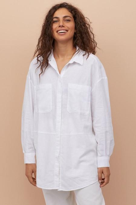 Camisa Larga En Mezcla De Lino