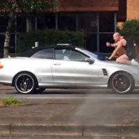 Un tipo se sube al capó de tu coche y golpea el parabrisas, ¿tú qué haces? Conducir, claro
