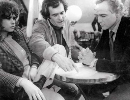 Schneider, Bertolucci y Brando en el rodaje