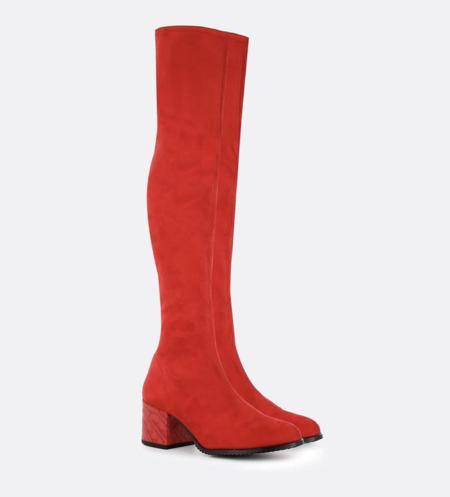 Botas De Mujer Cuple En Ante Elastico Color Rojo