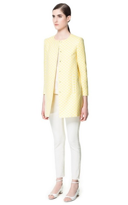 abrigo damero amarillo