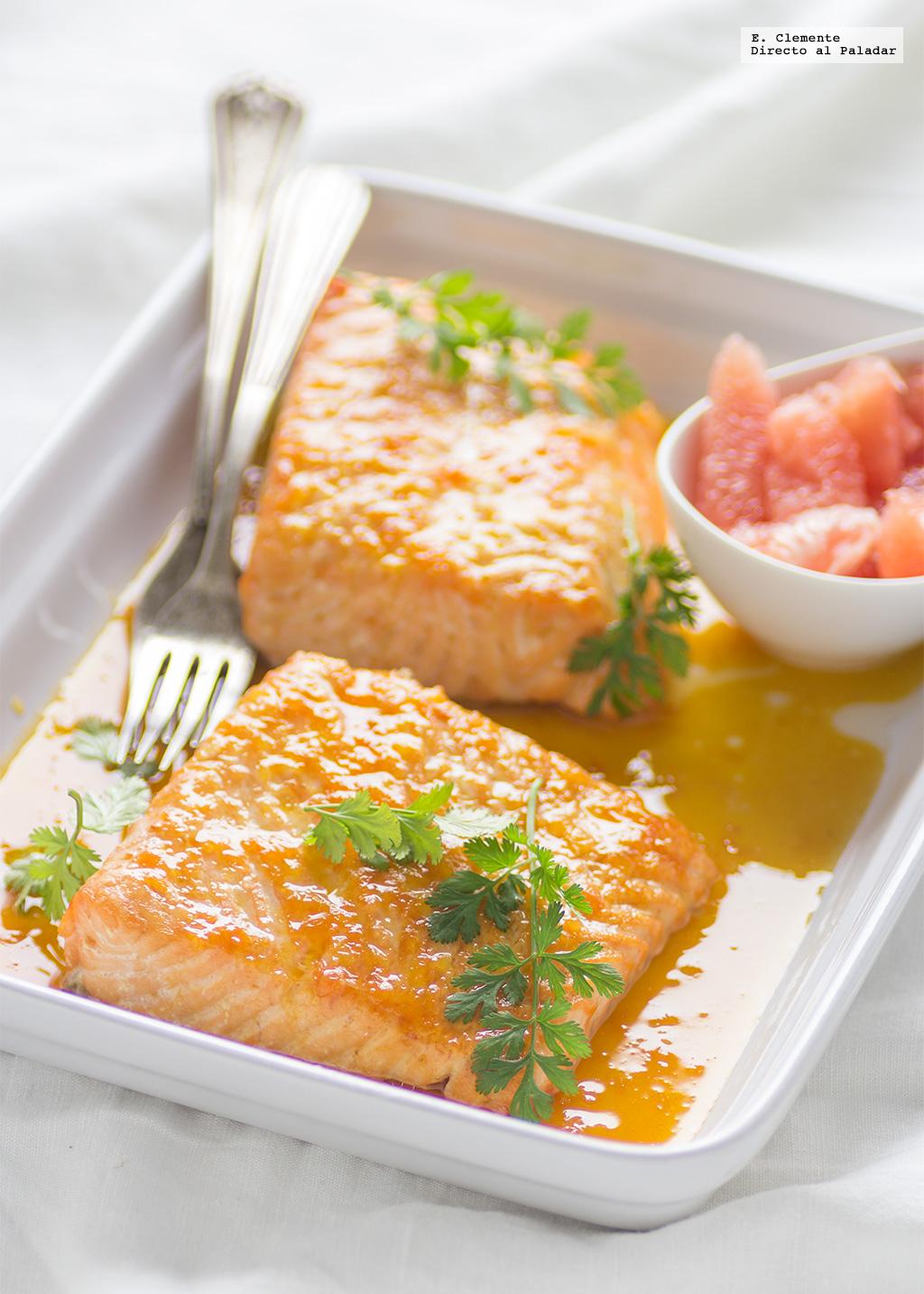Salm n al horno con salsa de c tricos y jengibre receta for Cenas originales