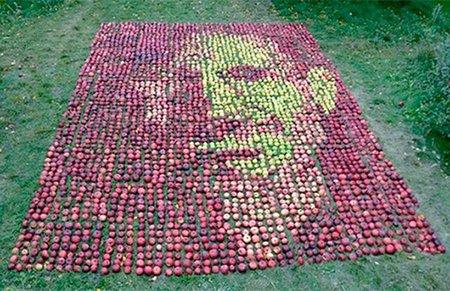 Un retrato en manzanas y la dieta de la manzana de Steve Jobs