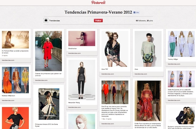 Tablón Trendencias en Pinterest