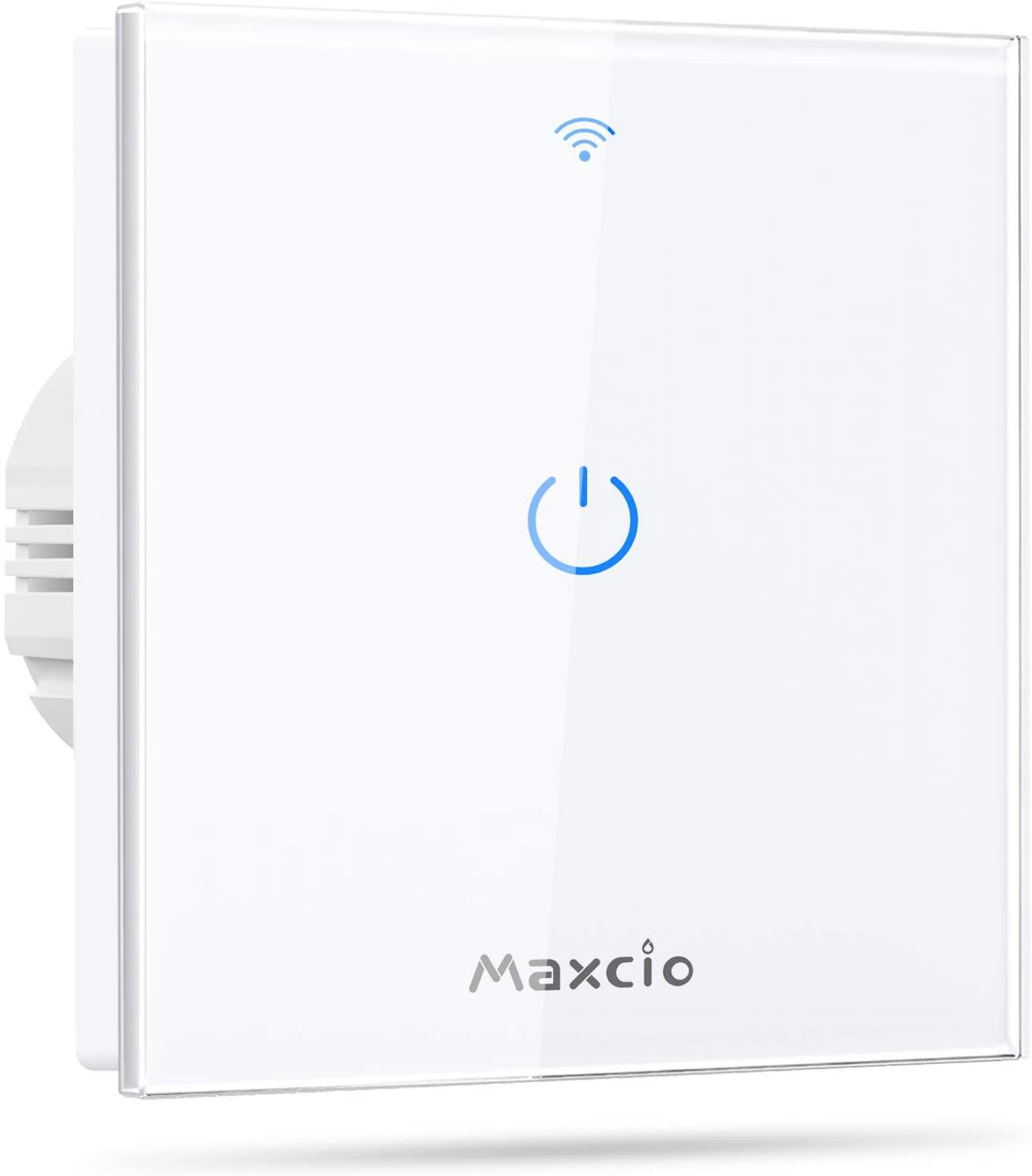 Interruptor Luz WiFi, Maxcio Interruptor Inteligente 1 Gang Compatible con Alexa, Google Home, Control de APP y Función de Temporizador, Neutral Requerido