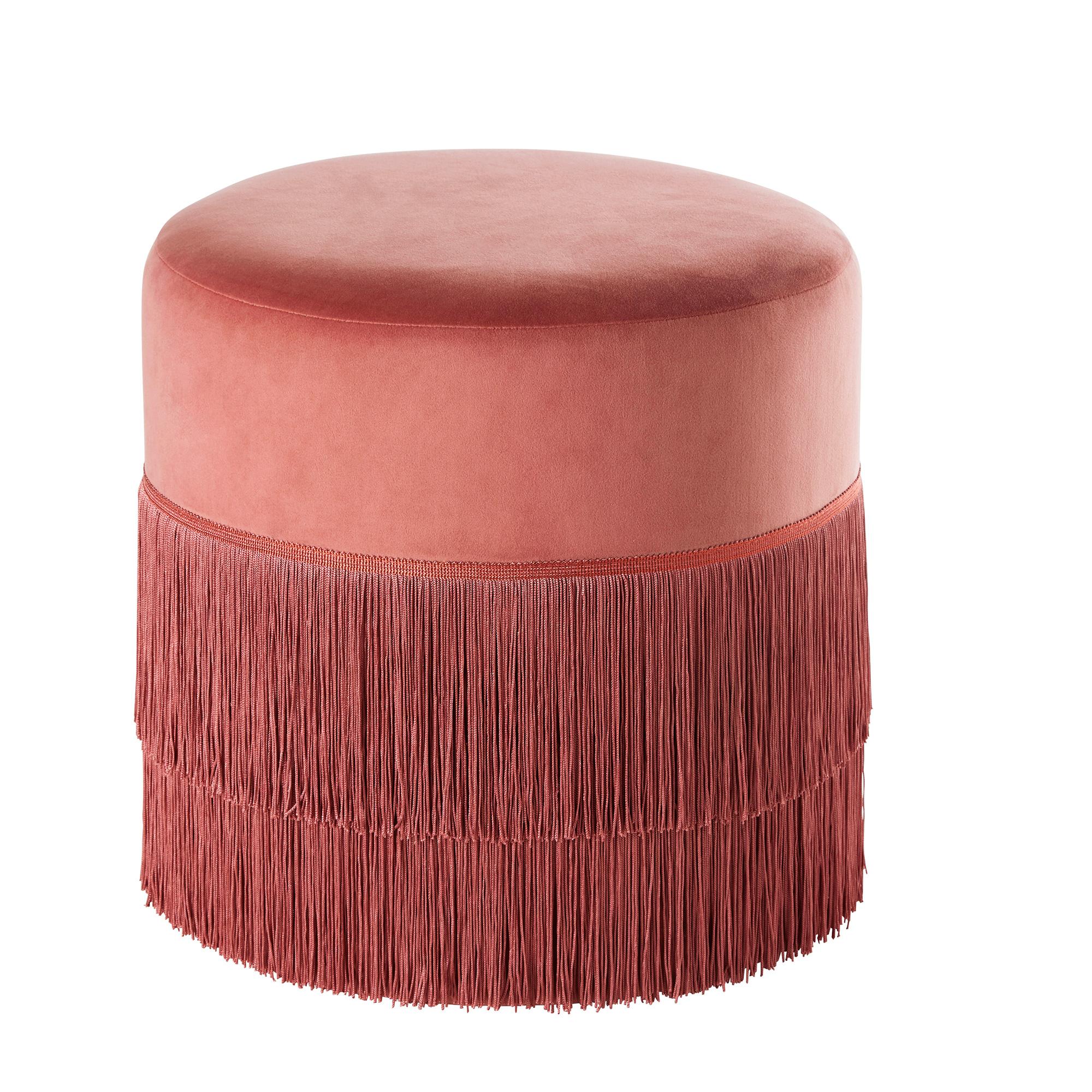 Puf de terciopelo rosa con flecos