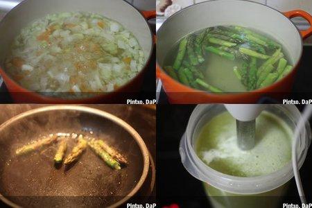 Sopa de espárragos verdes. Pasos