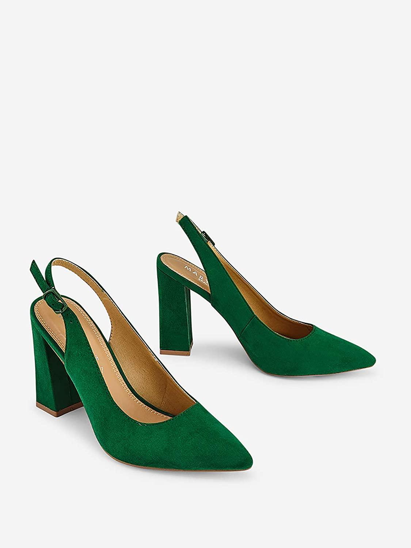 Marypaz, Salón tacón Ancho semidescubierto para Mujer verde