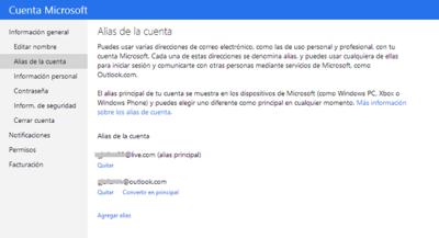 Microsoft ya permite elegir el alias primario de tu cuenta
