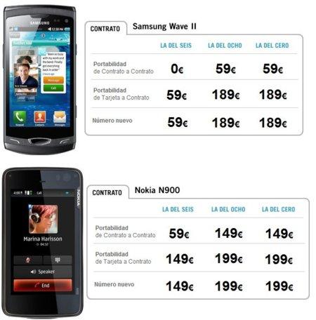 Precios Nokia N900 y Samsung Wave II con Yoigo