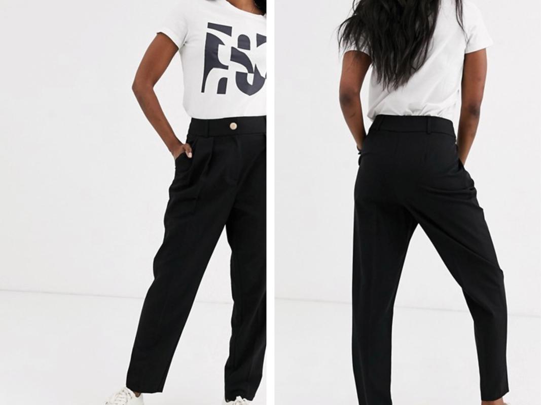 Pantalones de pinzas negros de River Island