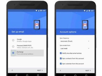 Gmail para Android añade soporte para cuentas Exchange