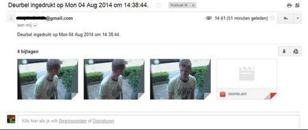 Detalle del mail con las capturas de imagen y vídeo