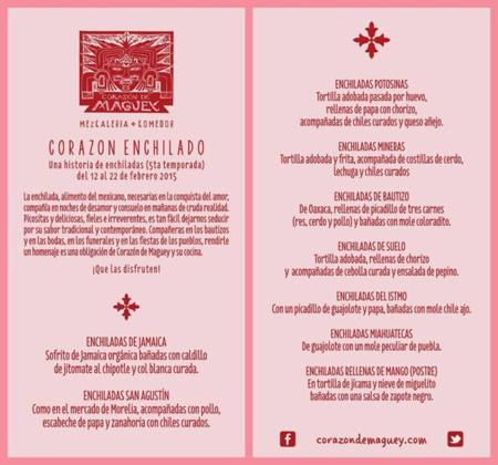 Corazon Enchilado Menu