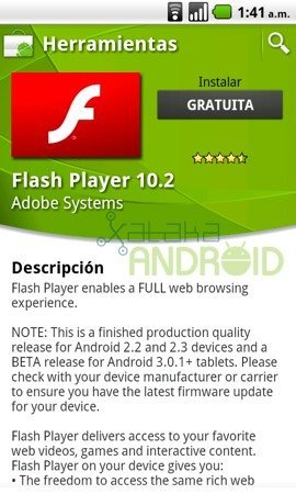 Adobe Flash 10.2 ya disponible para Android 2.2, 2.3 y Honeycomb 3.0.1