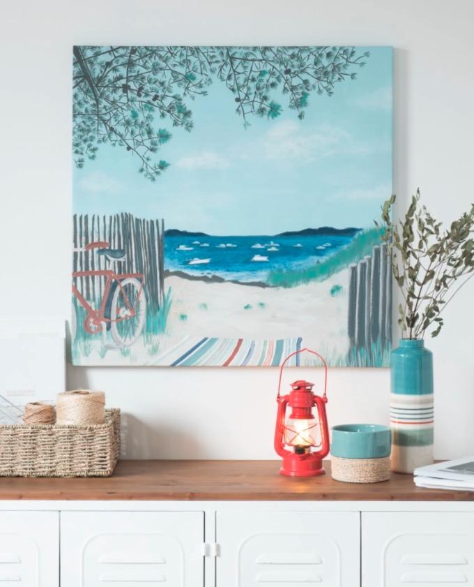 Lienzo con paisaje marino multicolor 70x70