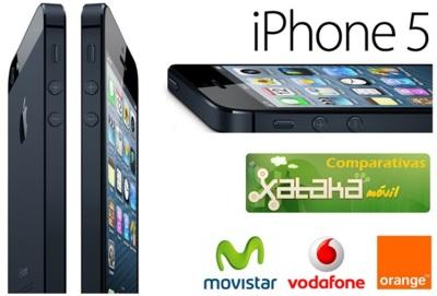 Comparativa precios iPhone 5 asociado a las diferentes tarifas de Movistar, Vodafone y Orange