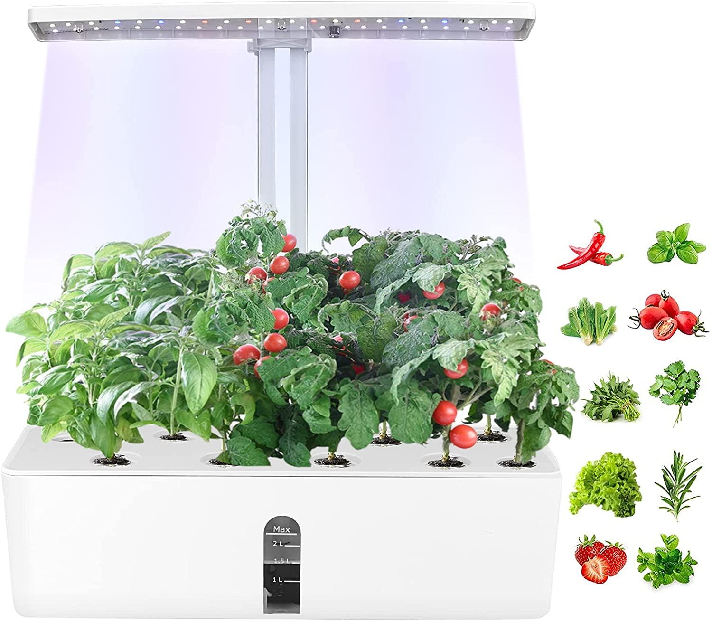 Vogvigo Sistema de Cultivo Hidropónico, Kit de Jardín de Hierbas para Interiores con Luces LED Ajustables, Cesta de Bambú para Macetas, Bomba de Circulación y Polvo de Nutrientes, Altura Regulable